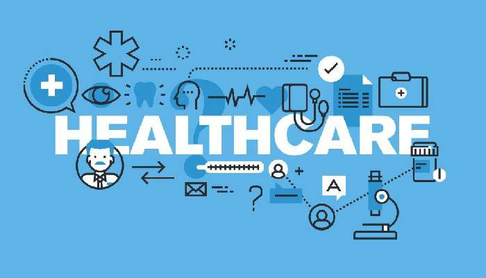 Healthcare text and its related drawings sketched in a blue background.