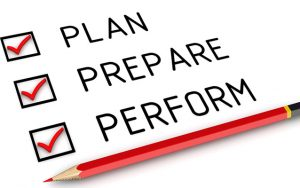 Plan, Prepare and Perform written in bold with check box and red colour pencil.